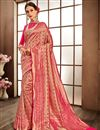 image of Pink Designer Saree In Banarasi Silk Fabric With Weaving Work Designs And Attractive Blouse