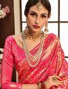 photo of Weaving Work On Designer Saree In Banarasi Silk Fabric Pink With Likable Blouse