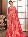 image of Weaving Work On Designer Saree In Banarasi Silk Fabric Pink With Likable Blouse
