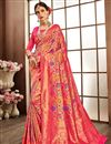 image of Pink Banarasi Silk Fabric Designer Saree With Weaving Work Designs And Enchanting Blouse