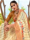 photo of Beige Color Puja Wear Printed Saree In Cotton Fabric