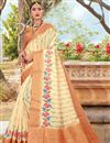 image of Beige Color Puja Wear Printed Saree In Cotton Fabric