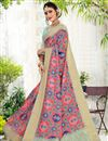 image of Cotton Fabric Daily Wear Printed Saree In Pink Color