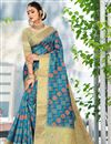 image of Sky Blue Color Casual Printed Saree In Cotton Fabric