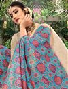 photo of Cotton Fabric Cyan Color Daily Wear Printed Saree