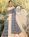 image of Cotton Fabric Cyan Color Daily Wear Printed Saree