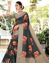 image of Printed Cotton Fabric Fancy Saree In Black Color