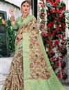 image of Cream Color Casual Wear Printed Saree In Cotton Fabric