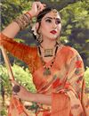 photo of Fancy Cotton Fabric Orange Color Daily Wear Printed Saree