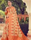 image of Fancy Cotton Fabric Orange Color Daily Wear Printed Saree