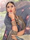 photo of Fancy Cotton Fabric Grey Color Printed Daily Wear Saree