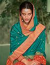 photo of Art Silk Dark Cyan Color Festive Saree With Embroidery Work And Gorgeous Blouse