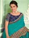 photo of Embroidery Work On Art Silk Party Wear Saree In Turquoise Color With Ravishing Blouse