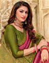 photo of Weaving Work On Art Silk Fabric Puja Wear Designer Saree In Rani Color