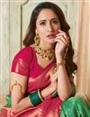photo of Weaving Work On Dark Green Color Art Silk Fabric Party Wear Saree With Amazing Blouse