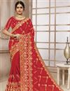 image of Satin Silk Fabric Function Wear Embroidered Work Saree In Red Color