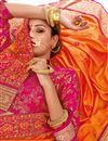 photo of Silk Fabric Orange Color Designer Embroidery Work Saree