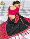 photo of Silk Fabric Black Color Designer Embroidery Work Saree