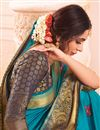 photo of Cyan Color Party Wear Art Silk Fabric Embroidered Saree