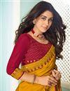 photo of Mustard Color Art Silk Fabric Function Wear Fancy Saree
