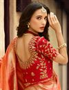 photo of Embroidery Work On Silk Designer Saree In Peach With Admirable Blouse