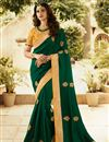 image of Embroidery Work On Silk Dark Green Designer Saree With Alluring Blouse