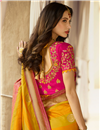 photo of Yellow Party Wear Embroidered Saree In Silk With Designer Blouse