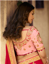 photo of Georgette Silk Red Occasion Wear Saree With Embroidery Work And Elegant Blouse