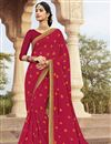 image of Dark Pink Fancy Festive Wear Bandhej Printed Saree In Georgette Fabric