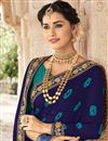 photo of Fancy Georgette Fabric Festive Wear Navy Blue Bandhej Printed Saree