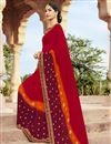 image of Festive Wear Fancy Georgette Fabric Bandhej Printed Saree In Red