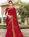 image of Georgette Red Fancy Festive Wear Bandhani Printed Saree