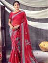 image of Daily Wear Red Color Classic Georgette Fabric Printed Saree