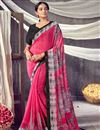 image of Daily Wear Classic Georgette Fabric Printed Saree In Pink Color