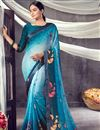 image of Daily Wear Georgette Fabric Classic Sky Blue Color Printed Saree