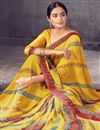 photo of Daily Wear Georgette Fabric Classic Printed Saree In Yellow Color