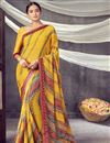 image of Daily Wear Georgette Fabric Classic Printed Saree In Yellow Color
