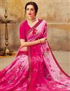 photo of Pink Casual Wear Georgette Printed Saree