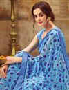 photo of Casual Wear Cyan Printed Saree In Georgette