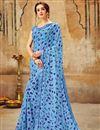 image of Casual Wear Cyan Printed Saree In Georgette