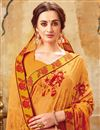 photo of Orange Casual Wear Printed Saree In Georgette Fabric