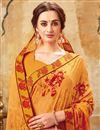 photo of Orange Casual Wear Printed Saree In Georgette Fabric