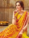 photo of Georgette Casual Wear Yellow Printed Saree