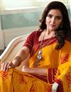 photo of Jasmin Bhasin Orange Color Georgette Fabric Fancy Printed Saree With Blouse