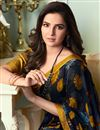 photo of Jasmin Bhasin Printed Navy Blue Color Georgette Fabric Office Wear Saree With Blouse