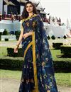 image of Prachi Desai Casual Wear Navy Blue Color Trendy Georgette Fabric Floral Printed Saree