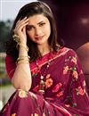 photo of Prachi Desai Casual Wear Georgette Fabric Trendy Floral Printed Saree In Maroon Color