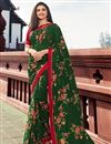 image of Prachi Desai Green Color Casual Wear Trendy Floral Printed Saree In Georgette Fabric