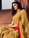 photo of Prachi Desai Georgette Fabric Trendy Casual Wear Yellow Color Floral Printed Saree