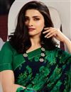 photo of Prachi Desai Navy Blue Color Casual Wear Georgette Fabric Trendy Floral Printed Saree